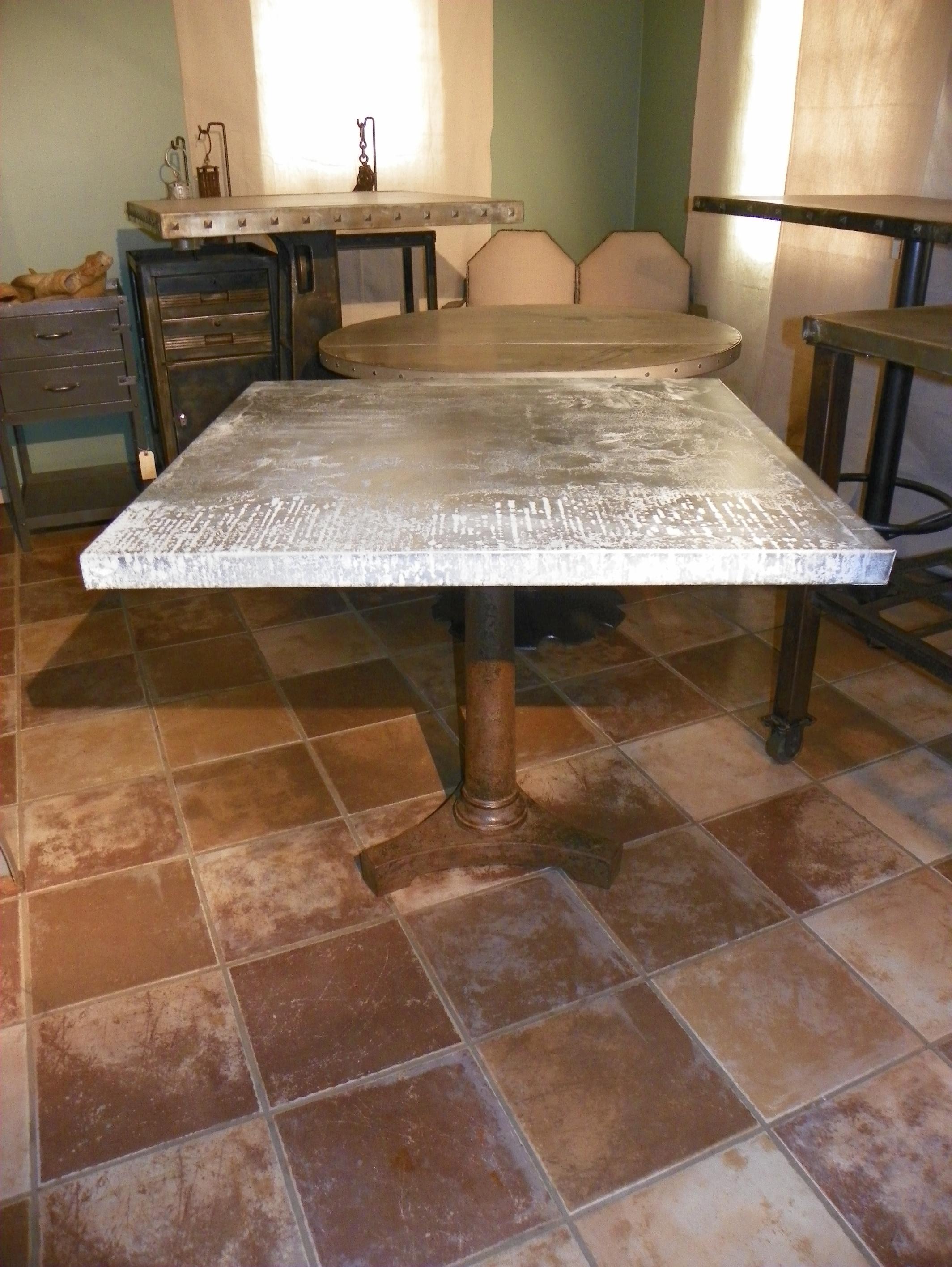 Cafe Table Beautiful Vintage Base Rustic Patina Zinc Top