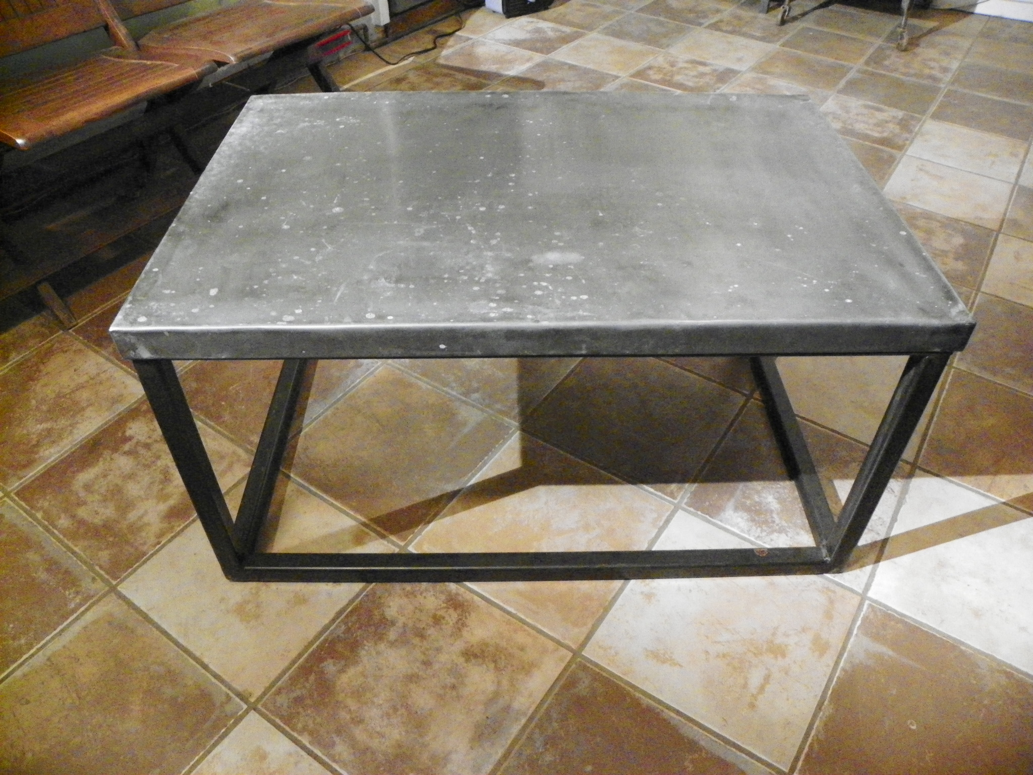 Zinc Top Brick Maker Style Coffee Table Stissing Design